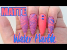 Matte Water Marble Acrylic Nails | Water Marble Sticker - YouTube