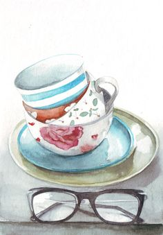Original watercolor art tea cups and retro vintage reading glasses painting Watercolor Flowers, Watercolor Paintings, Watercolours, Decoupage, Cup Art, Colorful Drawings, Beautiful Paintings, Love Art, Painting Inspiration