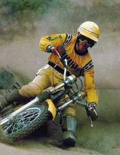1976- Bob Hannah test riding a Yamaha YZ125C