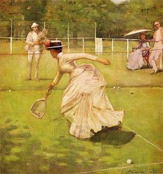 When tennis was introduced to the US by Outerbridge in the 1880s, women played in full Victorian dress.