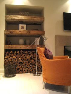 New living room wood burner firewood storage Ideas Wood Burner Fireplace, Fireplace Shelves, Wood Shelves, Build Shelves, Rustic Shelves, Living Room Shelves, New Living Room, Living Room Decor, Glass Shelves In Bathroom