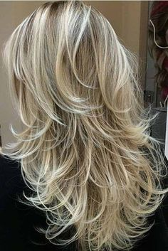 Love the long layered blonde!