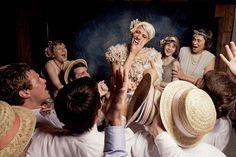 Vintage flapper outdoor rustic wedding