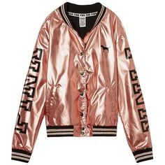 Victoria's Secret Pink 2016 Fashion Show Gold Bomber Jacket Classic... ($15) ❤ liked on Polyvore featuring outerwear, jackets, blouson jacket, victoria's secret, gold bomber jacket, bomber jacket and gold jacket