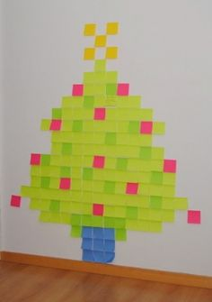 This is a cool and temporary way to create a Christmas tree using post-it notes. Directions at Little Big Magazine.