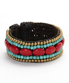 Another great find on #zulily! Turquoise & Red Oval Cuff Bracelet by PANNEE JEWELRY #zulilyfinds