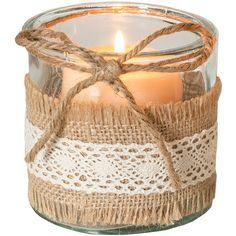Designs Combined Inc. Burlap Lace Glass Candleholder ($6.49) ❤ liked on Polyvore featuring home, home decor, glass home decor and burlap home decor