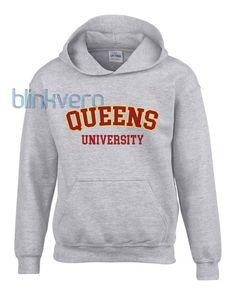 Queens university white hoodie girls and mens hoodies unisex adult