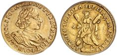 AV 2 Roubles. Russian Coins. Peter I. 1689-1725. 1723. 3,98g. Fr 91. Rare date. About uncirculated. Price realized 2011: 22.000 USD.