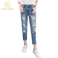 abd99a15df87b 2017 Loose Boyfrien Jeans 25 32 Harem Ripped Jean For Women Plus Size  Vintage Hole For Woman Pants Mid Waist Trousers Lady Jeans-in Jeans from  Women s ...