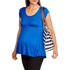 Due Time Maternity Short Sleeve Babydoll Top, Size: Small, Blue