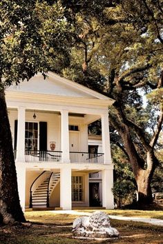 I'd take this house with the awesome trees, rocking porches, and beauty of a staircase. Southern Homes, Southern Comfort, Southern Living, Southern Charm, Country Homes, Southern Style, Southern Plantations, New Architecture, Southern Architecture