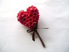 Heart Boutonniere. Groomsmen Flower by parsi on Etsy