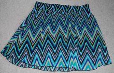 Maurices Skirt Juniors Medium Chevron Print BTS Blue Green Zig Zag Elastic Waist #Maurices #Mini