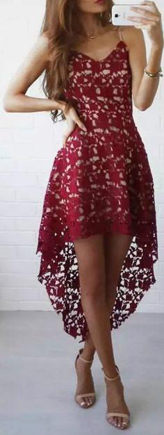#summer #fashion / red eyelet dress
