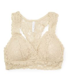Look what I found on #zulily! Beige Lace Racerback Padded Bralette by r.bryant #zulilyfinds