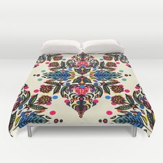 Bright Folk Art Pattern - hot pink, orange, blue & green Duvet Cover