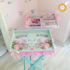 Tv Tray Makeover, Furniture Makeover, Decoupage Furniture, Painted Furniture, The Beach People, Wood Blocks, Vintage Wood, Jewellery Display, My Room