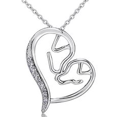 925 Sterling Silver Forever Love Heart Dog Pendant Mother Child Necklace for Women