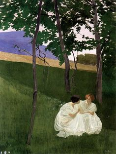 Sister - I miss you. And our talks. and lazy summer days.   Painting by Ernest Bieler Swiss Painter