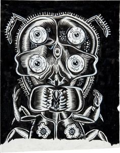 Original illustration by Gary Panter and Charles Burns from Facetasm, a mix and match flip book published by Green Candy Press, 1998.