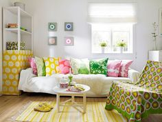 "The colors are so fun! From the post ""Scandinavian Summer Cottage"" on the blog 79 Ideas."
