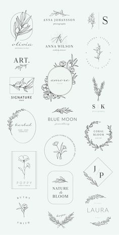 Botanical logos illustrations by Crocus Paperi on Creative Market calligraphy&; Botanical logos illustrations by Crocus Paperi on Creative Market calligraphy&; Charlize Ellermann charlizeellerma Hand lettering fonts Botanical logos […] a buchstabe Logo Floral, Illustration Botanique, Botanical Illustration, Wedding Illustration, Botanical Drawings, Hand Illustration, Botanical Art, Botanical Gardens, Creative Market