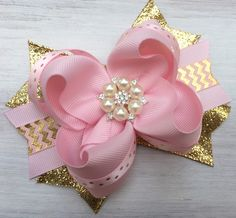 Pink and gold hair bow, pink and gold hair accessory, pink and gold headband, pink and gold party, pink and gold first birthday, pink gold by ModernMeCollection on Etsy https://www.etsy.com/listing/479982982/pink-and-gold-hair-bow-pink-and-gold