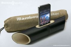 """The iBamboo is simply a bamboo tube with a hole in the middle that you can """"dock"""" your iPhone into, making for a natural sound amplifier that doesn't need batteries. Or a high price tag."""