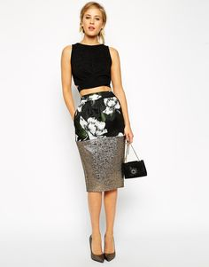 Pencil Skirt in Floral Print & Jacquard (Asos)