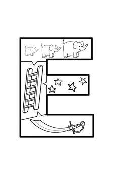 VOGAL E quebra-cabeça Autism Activities, Preschool Education, Letter Activities, Activities For Kids, Alphabet Coloring Pages, School Readiness, Phonics, Lettering, Writing