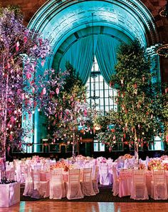 Glamorous Urban Garden Party:   Wedding experts turn a former bank into a chic garden reception. PHOTOS: TERRY DEROY GRUBER. A mix of square and rectangular tables, some with pink-tinted glasses and others with green, add a playfulness to the space.    WOW! This is Stunning!