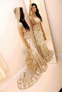 White Lehenga Choli Embellished with Golden Embroidery: different colors of bridal dresses (11)