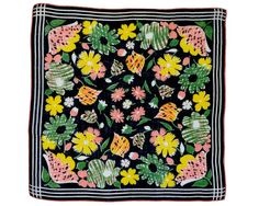 RETRO HANKIE Mid-Century, Stylized Snaps, Tulips, Daisies Yellow, Green, Coral on Black, Geo Border, Modern, 13 1/2 In, Excellent Condition