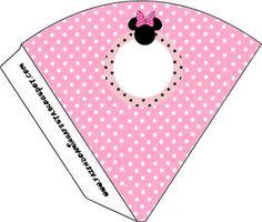 Imprimibles gratis de Minnie Mouse en fondo rosa con lunares blancos o negros. 11 modelos diferentes.