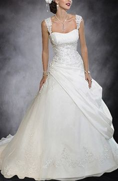 Straps A-line Ball Gown Side Draped Wedding Gown
