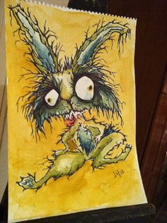 """zombie zooed - """"clifton""""© lynn halcomb 2012 the jacked rabbit. trapped by a farmer's wife on a Kansas farm. good thing too because zombie bunnies were multiplying like rabbits"""