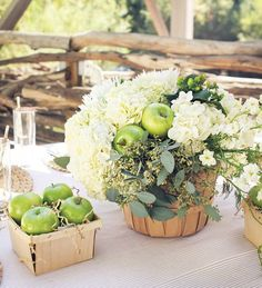 green apple bushel floral centerpiece / http://www.himisspuff.com/apples-fall-wedding-ideas/7/