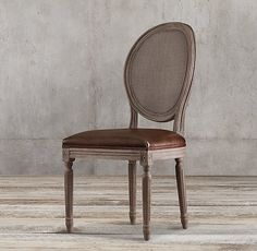 Vintage French Round Cane Back Leather Side Chair French Dining Chairs, Round Back Dining Chairs, Mismatched Dining Chairs, Side Chairs, Bar Chairs, Lounge Chairs, Cane Back Chairs, Wayfair Living Room Chairs, Dining Rooms