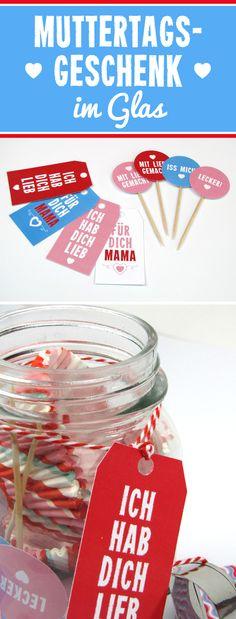 Geschenk im Glas für deine Mama - ganz leicht individualisierbar! #muttertag #geschenk #diy