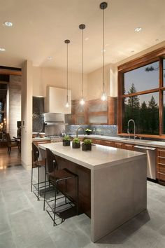 New York loft meets mountain modern living in Lake Tahoe - this cascading countertop for our place! Stylish Kitchen, New Kitchen, Kitchen Interior, Kitchen Decor, Kitchen Island, Kitchen Layout, Kitchen Ideas, Island Stove, Urban Kitchen
