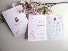 Cherry Blossoms Folded Wedding Invitations by PrettyStationeryShop