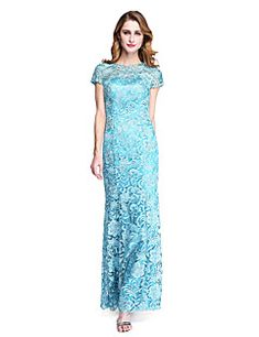 Sheath+/+Column+Jewel+Neck+Floor+Length+Lace+Mother+of+the+Bride+Dress+with+Lace+by+LAN+TING+BRIDE®+–+USD+$+315.00