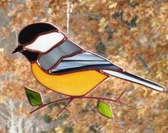 Chickadee - Large Stained Glass Bird Suncatcher 122071
