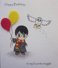 "Harry Potter Birthday Card ""to my favorite muggle"" by ABitofImagination - Diy Birthday Cards Harry Potter Cards, Cumpleaños Harry Potter, Harry Potter Drawings, Birthday Present Diy, Cool Birthday Cards, Birthday Diy, Birthday Gifts, Birthday Quotes, Harry Potter Birthday Cards"
