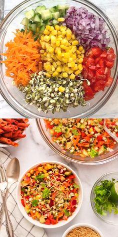 Healthy Indian Recipes, Tasty Vegetarian Recipes, Spicy Recipes, Indian Dessert Recipes, Indian Beans Recipe, Veg Salad Recipes, Salade Healthy, Paratha Recipes, Mung Bean