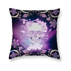Sugar Skull Throw Pillow Floral Purple Twilight Space Skull Ll ($30) ❤ liked on Polyvore featuring home, home decor, throw pillows, decorative pillows, grey, home & living, home décor, skull home accessories, purple accent pillows and floral home decor