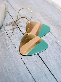 Hand painted guitar pick earrings - peach and green $34.00