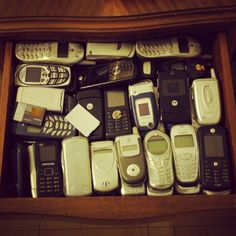 If you have a similar drawer at home. we want to buy them all! Let us recycle your old phones and get you paid for doing it! Cell Phone Store, Old Cell Phones, Cheap Cell Phones, Old Phone, Mobile Phones, Recycle Mobile, Best Mobile, Daily Photo