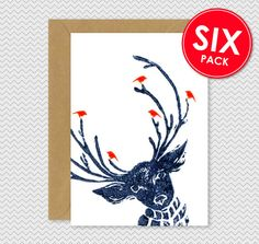 Set of 6 - Cool Christmas Cards - Reindeer with birds - Dark Blue - Lino Print - cute funky xmas cards